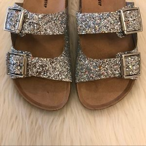 Silver Glitter Double Buckle Sandals